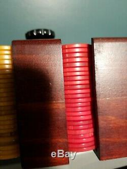 Antique BAKELITE CATALIN POKER CHIPS set 196 in Mohagany WOOD CADDY HOLDER