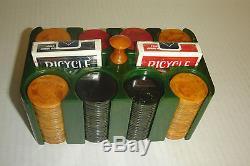 Antique Bakelite/Catalin Poker Chip Set with Green Bakelite/Catalin Holder