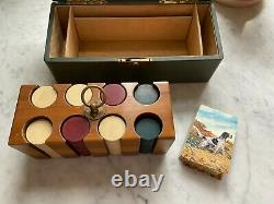 Antique Clay Poker Chip Set with Case and Deck of Cards