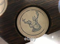 Antique Clay Stag Design Poker Chip Set In Hexagon Oak Box
