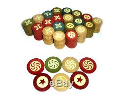 Antique Composite Clay Poker Chip Full Set 450 Rare