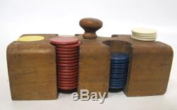 Antique Early 1900's Old Clay Poker Chip Set Original Case Casino Gambling yqz
