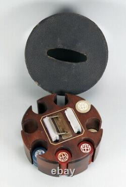 Antique German Clay Poker Chip set with Cards & Caddy Storage Box WWI