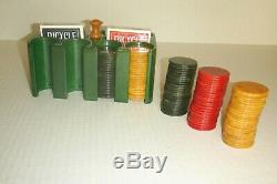 Antique Green Bakelite/Catalin Poker Chip Set with Bakelite caddy