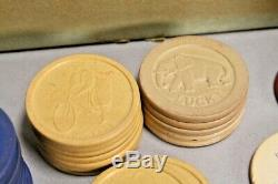 Antique H Clay Poker Chips Caddy Set Circa Early 1900s W Rare extras