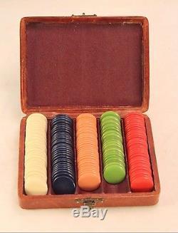 Antique Ladies Bakelite Poker Chip Set Leather Victorian Case with Petit Point