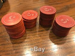 Antique Numbered (1,5,10,25) Poker Chip set c1920s Bicycle Playing Cards Vintage