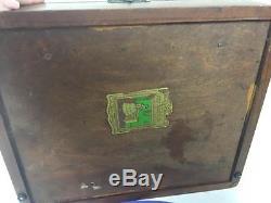 Antique Poker Chip Black Walnut Box Willett Vtg Set Composite 300 Chips Dice