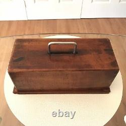Antique Poker Chip & Card Set In Wooden Cary Case