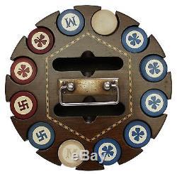 Antique Poker Chip Set Wooden Carousel Holder Caddy withLid Swastika 4 Leaf Clover