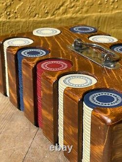 Antique Poker Chip Set with Inlayed Oak Caddy