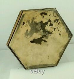 Antique Poker Chip Set with case CLAY CHIPS! TIGER OAK! HAND CRAFTED! SCARCE