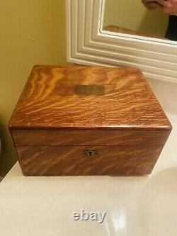 Antique Poker Game Set in Original Oak Wood Case