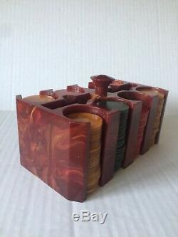 Antique Red Bakelite/Catalin Poker Chip Set and Bakelite caddy