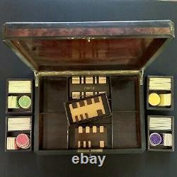 Antique Set of 160 BONE Bovine GAME COUNTERS in BEAUTIFUL Locking WOODEN BOX