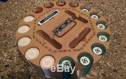 Antique Swastika Poker Chip Set