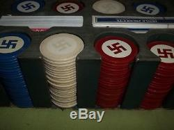 Antique Swastika Poker Chip Set with Leather Case