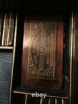 Antique Victorian rosewood/mahogany traveling casino poker gambling case derrin