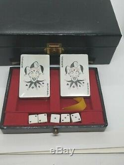 Antique Vintage Card Dice Poker Chip Set Leather Case With Key Gambling Box Rare