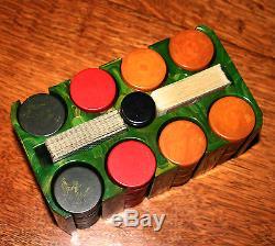 Antique Vintage Catalin Bakelite Poker Chip Set Beautiful 200 Chips All Original