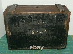 Antique Vintage Clay Poker Chip Set In Original Oak Wooden Box Brass Handle