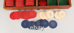 Antique Vintage Poker Chip set with Caddy and Lock Storage Box WWI
