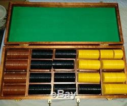 Antique Vintage set of 560 Clay Poker Chips Old Gambling With Case