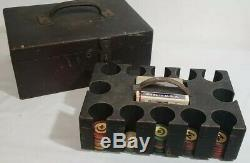 Antique Vtg Poker Set 131 Clay Chips Cards Caddy Oak Wood Box Gambling Casino