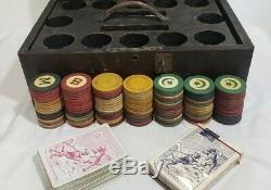 Antique Vtg Poker Set 148 Clay Chips Cards Caddy Oak Wood Box Gambling Casino