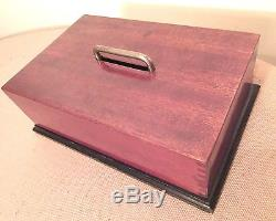 Antique handmade wood carrying playing card clay poker chip holder box set