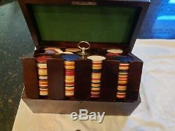 Antique vintage clay chip wood hard box case poker gambling box gaming set