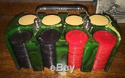 Awesome Antique Vintage Marble Swirl Catalin Bakelite Poker Gambling Chip Set