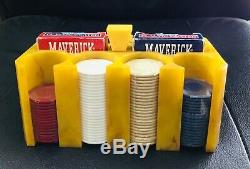 BAKELITE Poker CHIP HOLDER SET BUTTERSCOTCH/BROWN Swirls Cards and Chips