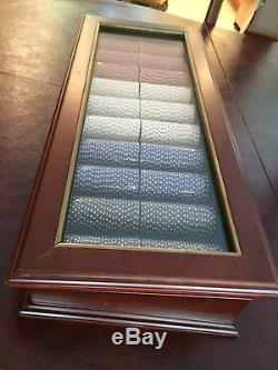 BOMBAY& CO. Poker Chip Set Mahogany Case withglass top, Never used, SEALED CHIPS