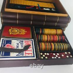 Bakelite Traveling Game Set Poker Chips, Dominoes, Dice, 2 Decks of Cards