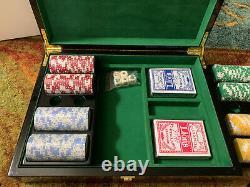 Bey-berk G515 Poker Set 300 Chip/inlay Lacquer Wood Box $450.00