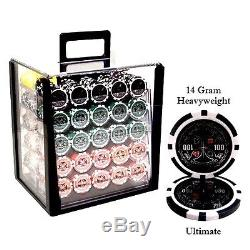 Brybelly Ultimate 14gram Heavyweight Poker Chips Set 1000 Acrylic Display Case
