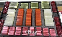 CAJA RARE Vintage European Gaming Poker Chip Set in a Case
