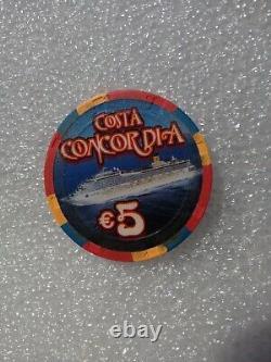 CASINO POKER CHIP-$5 AND $1. Set COSTA CONCORDIA. Rare