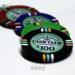 Cash Club Casino Poker Chip Set 1000 Poker Chips Acrylic Carrier Racks