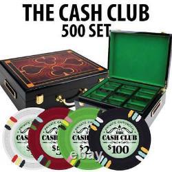 Cash Club Casino Poker Chip Set 500 Poker Chips Gloss Wood Case