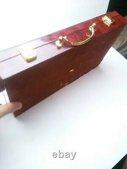 Casino Poker 300 Chip Set Wooden High Gloss Case Royal Flush Heavy Duty Case. F