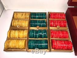 Catalin Bakelite Poker Chip Set in Case Red Blueish Green & Yellow 300 Pieces