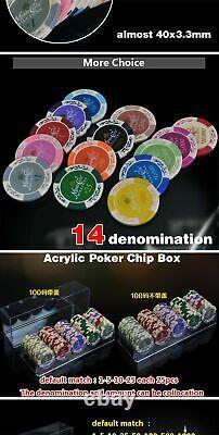 Chip Set Poker Casino Set Aluminum Box Bulk Ceramic Coins Entertainment Indoors