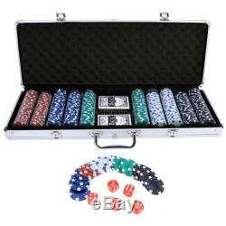 Clay Poker Chip Set 500 Chips Aluminum Case Professional Casino Texas Hold