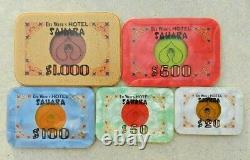 Complete set 5 1974 Sahara Casino Baccarat $1000 $500 Plaques Las Vegas chips