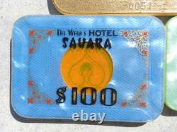 Complete set 5 1974 Sahara Casino Baccarat $1000 $500 Plaques Las Vegas chips #2