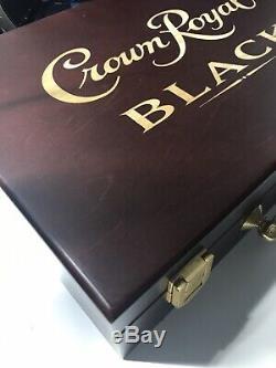 Crown Royal Black Poker Chip Set with Crown Royal Black logo Wooden Case