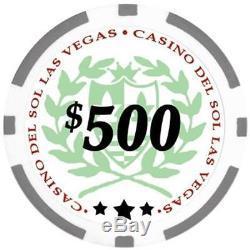 Da Vinci Professional Casino Del Sol Poker Chips Set With Case Set Of 500 11.5Gm