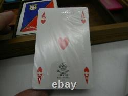 Dal Negro Poker Set marbled Acrylic Chips Two Card Decks Wooden Box Vintage